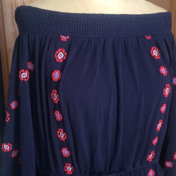 LOFT Dresses & Skirts - Boho dress, all cotton, dark blue